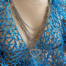 HANDMADE BLUE LUREX NET SILK SCARF WITH  HEART SHAPE SILVER METAL  NECKLACE GIFT