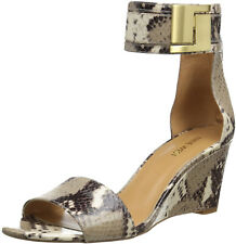 Nine West Nice Time Open Toe Ankle Strap Wedge Heel Snakeskin Size 6 M