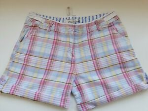Ladies Joules Pink Check Shorts In Size 12