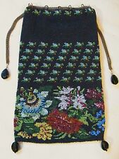Antique Drawstring Czech Drop Black Burgundy Blue Yellow Floral Micro Bead Purse