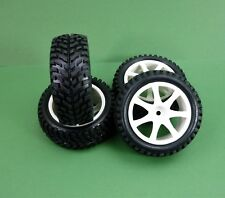 Set of 4 Wheels & Sand Runner Tyres for 1 10 RC Rally Cars Suit Tamiya Traxxas