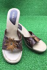 Fioni Brown Leather Upper Slip On Sandals Heels Women's Sz 9US Floral Decor