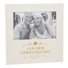 Golden Wedding 50th Anniversary Photo Frame Diamante Heart Gift Box