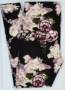 TC LuLaRoe Tall & Curvy Leggings Purple Mauve Roses on Black Flowers NWT F25