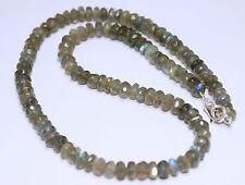 Labradorita collar,cadena de piedras preciosas,RONDELL COLLAR PLATA 925 ca.47 cm