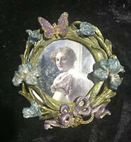 ENAMEL RHINESTONE PICTURE FRAME FLORAL BUTTERFLY EASEL BACK STRONGWATER STYLE
