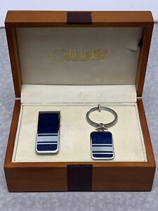 Colibri Stainless MONEY CLIP & KEYCHAIN IN WOODEN GIFT BOX A1