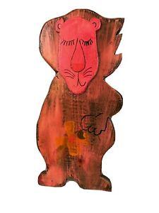 Orig Signed Dan Shupe USA Lion Hand Painted wood Animal Figure Pop Wall Art 60s