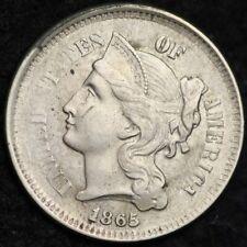 1865 Three Cent Nickel Piece CHOICE AU FREE SHIPPING E183 WCE