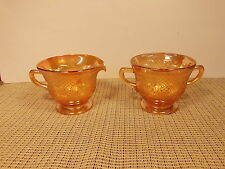 Vintage Federal Depression Glass Normandie Irisdescent Open Sugar & Creamer