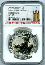 2020 GREAT BRITAIN 1OZ SILVER NGC MS70 BRITANNIA ORIENTAL BORDER FIRST RELEASES