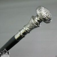 Vintage Antique Walking Cane Wooden Walking Stick Silver Brass Handle Knob Gift