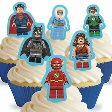 Cakeshop 12 x PRE-CUT Lego DC Superhero's Stand Up Edible Cake Toppers