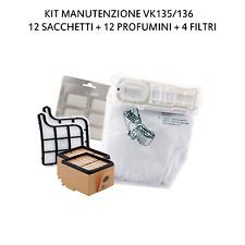 12 SACCHETTI + 12 PROFUMI + 4 FILTRI ASPIRAPOLVERE FOLLETTO VK135 VK136 (VK 135)