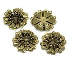 20 Bronze Tone Filigree Flower Wraps Connectors Findings 4x3.9cm