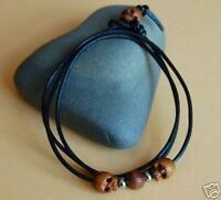 Black Leather Surf Cuff/Bracelet/Wristband/Wrap Adjustable Wooden Skull Beads
