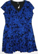 Dress 16W Plus City Chic $89 NWT Fit Flare Cobalt Black V-Neck Floral MC414