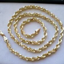 "5.5MM 10K  SOLID GOLD MEN'S DIAMOND CUT ROPE CHAIN NECKLACE 22"" 50 grams"