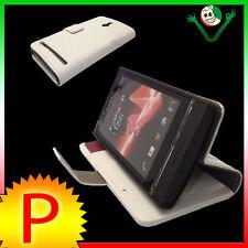 Custodia BIANCA pelle per Sony XPERIA P LT22i stand up BOOKLET libretto morbido