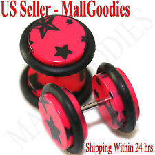 1281 Fake Cheater Illusion Faux Ear Plugs Hot Pink & Black Stars Design 00G 10mm
