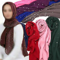 Women Chiffon Scarf with Studs Pearls Plain Hijab Muslim Shawl Wrap Scarves New