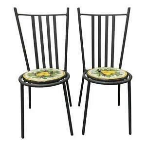 Pair of Iron Volcanic Stone Seat Dining Chair .