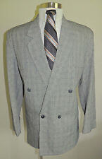 MENS COTLER BLACK/WHITE CHECK 4 BUTTON DOUBLE BREASTED 2 PIECE SUIT SIZE 42L