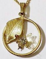 pendentif+chaine rétro feuille gravé et papillon relief cristal diamant * 4983