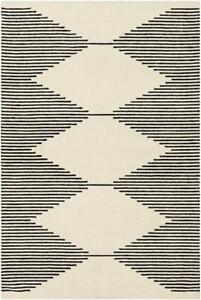 Brand New Modern Black & White Loop Hand-Tufted 100% Wool Soft Area Rug Carpet.