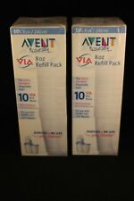New Two (x2) Avent Naturally Via 8 oz Bases Disposable Refill 10 Pack - 20 Total