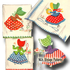 Vintage Embroidery Applique pattern ~ Sunbonnet Sue 6 designs for tea towels