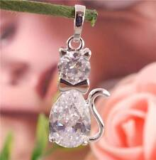 New! 1pc Silver cubic zirconia Cute Cat Fashion Necklace Pendant