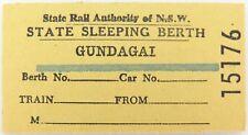 GUNDAGAI NSW RAILWAY LINE CLOSED 1984, SCARCE SLEEPING BERTH TICKET.