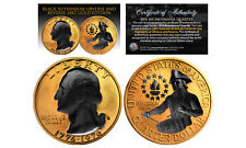 24K GOLD Plated 2-Sided 1976 Bicentennial Quarter with Black RUTHENIUM Features
