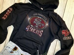 New Women's San Francisco 49ers Unisex Hoodie Sweatshirt size M Rhinestones