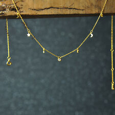 gold choker necklace tiny star and moon charm thin necklace dainty layer jewelry
