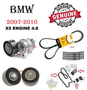 BMW X5 Engine Belt Tensioner W/ Idler Pulley & Belt E70 Pump/Alternator GENUINE