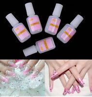2 Bottle Nail Art Glue Tips Glitter UV Acrylic Rhinestones Decor Brush Nail 10g