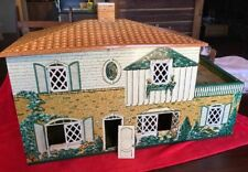 VTG RARE Early 1940's Tin Litho Large Metal / Tin Two Story Doll House W / Patio