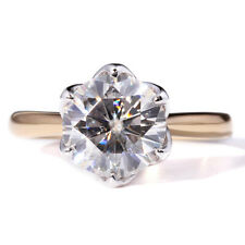 14k Yellow White Gold 2CT 8mm DF Color Moissanite Engagement Ring Flower Shaped