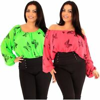 New Womens Plus Size Off Shoulder Long Sleeve Butterfly Corset Gypsy Tops 18-24