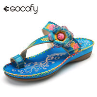 SOCOFY Women Summer Beach Bohemian Leather Wedge Sandals Hook Loop Flip Flops