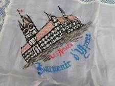 More details for antique ww1 embroidered silk handkerchief souvenir les halles ypres