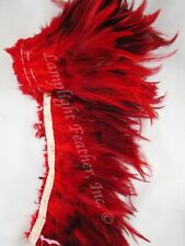 Feather Trim Saddle Hackle Furnace dyed Red per yard