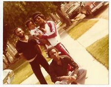 Vintage 80s PHOTO Young Black Guys Men w/ Baby Outside Home