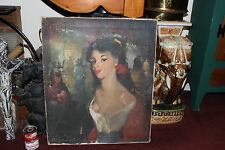 Antique French Victorian Oil Painting-Signed-Glamorous Woman Low Cut Blouse