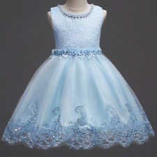 Flower Girl Kid Formal Lace Dresses Pageant Wedding Bridesmaid Sequin Tulle Gown