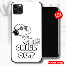 Peanuts Snoopy Chill Out Glass Phone Case Samsung S20 Huawei iPhone Xiaomi Gift