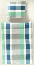 Bierbaum Bettwäsche Karos grün / blau - aqua - 135 x 200 cm - Baumwolle Renforcé