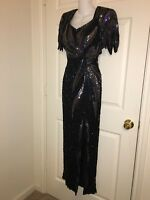 Vintage Sean Sexy BLACK Silk IRIDESCENT Sequin Beaded OPEN BACK VIXEN Long Dress